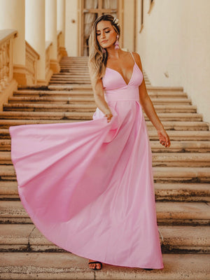 Ever-Pretty Women's A-Line V-Neck Satin Floor-Length Evening Dresses EP07927