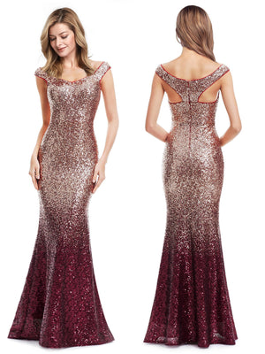 Ever-Pretty Women Elegantand Graceful Sequin Long Sparkle Evening Party Dress EP08999