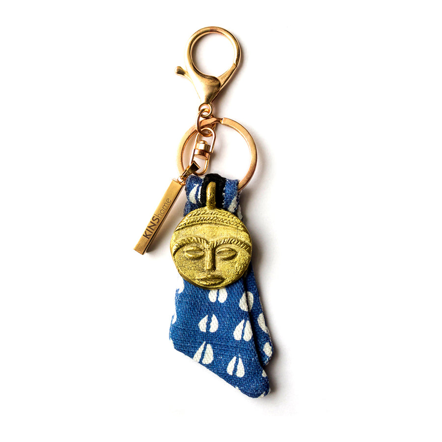 Blue African Cowrie Key Chain