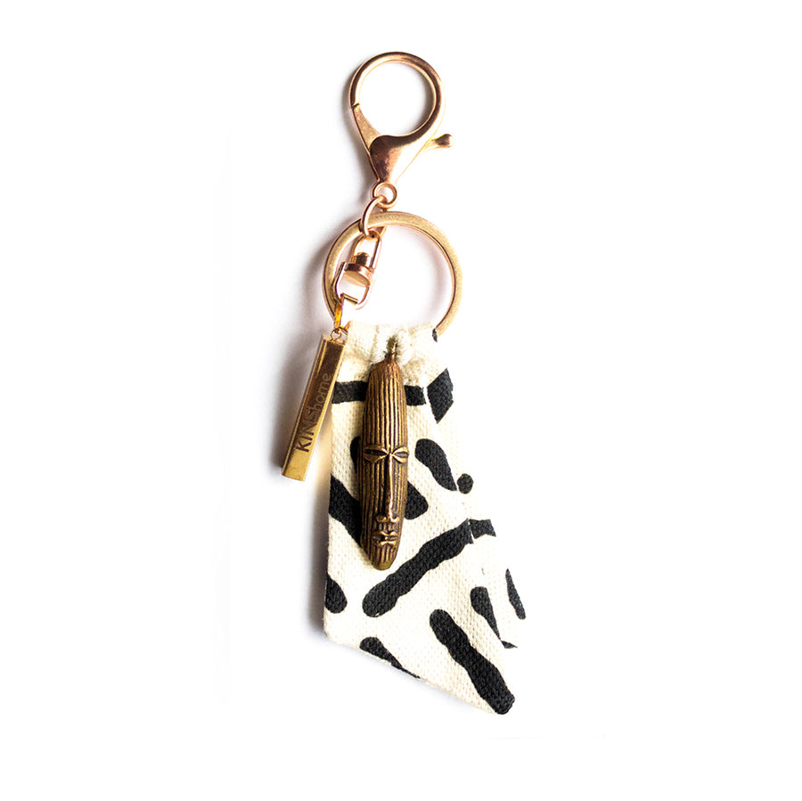 White Mudcloth Key Chain