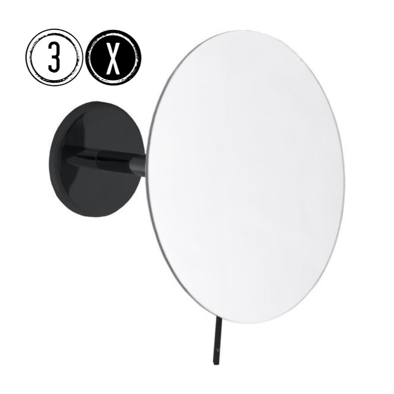 Emco BLACK Shaving & Cosmetic Wall Mirror, 3x Magnification, Fixed Arm, Round, Ø 179mm