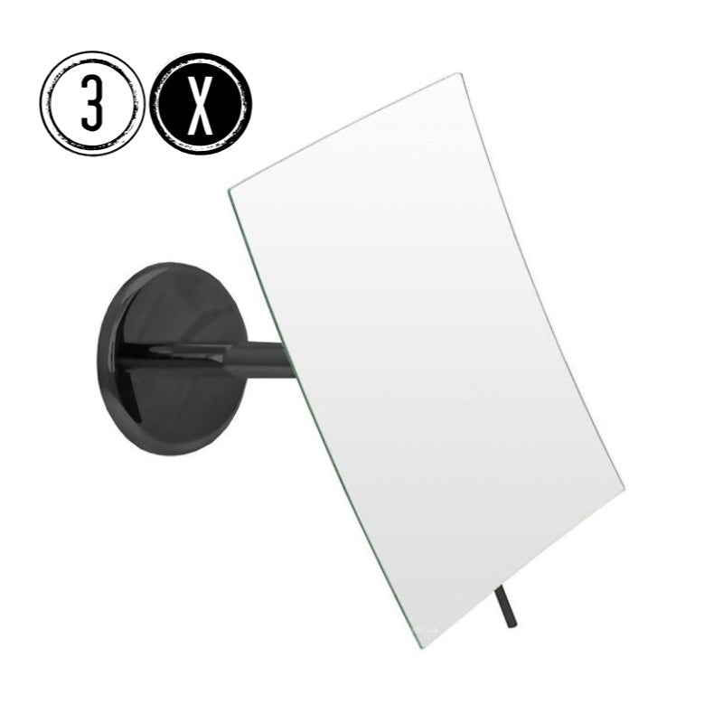 Emco BLACK Shaving & Cosmetic Wall Mirror, 3x Magnification, Fixed Arm, Rectangular