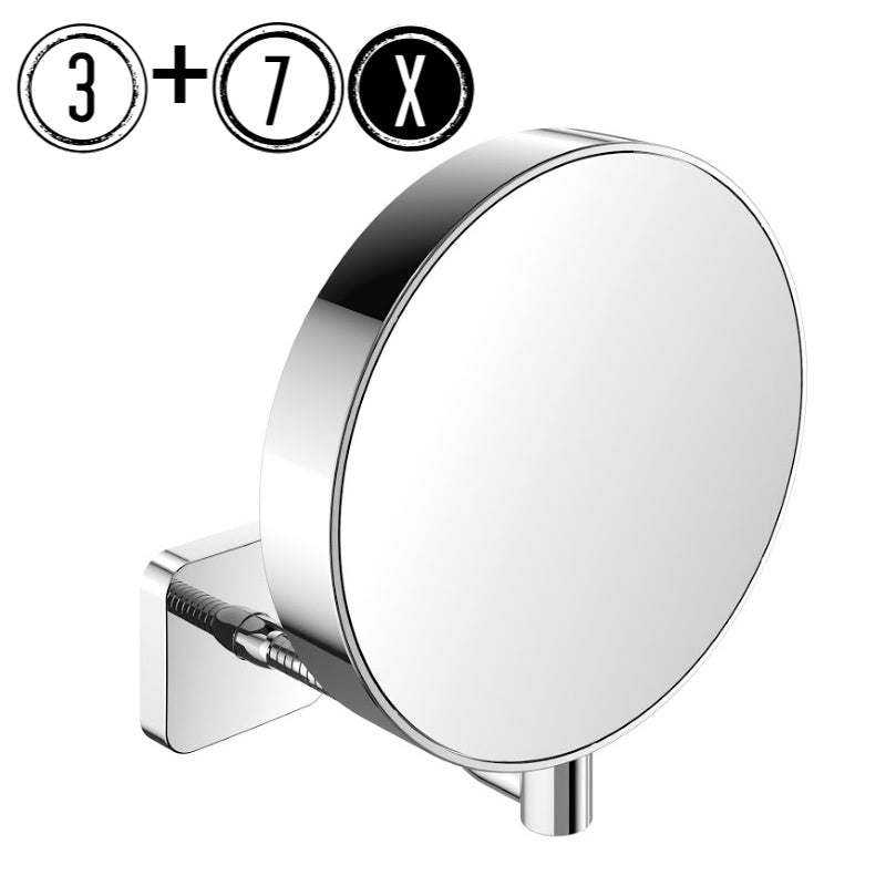Emco Shaving & Cosmetic Wall Mirror, 3x/7x Magnification, Flex Arm, Round, Ø 202mm