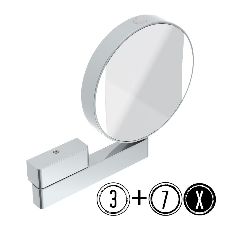 Emco LED Shaving & Cosmetic Mirror, 3x/7x Magnification, 1-arm, Round, Ø 200mm