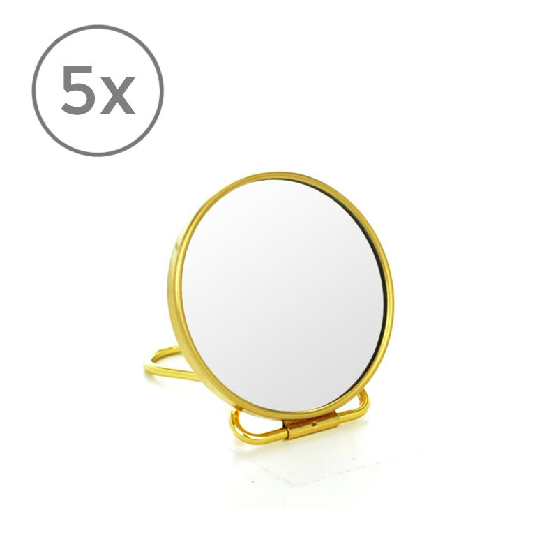 Frasco Brass Lustre Travel Mirror, 5x Magnification, Ø 70mm - The Magnifying Mirror Store