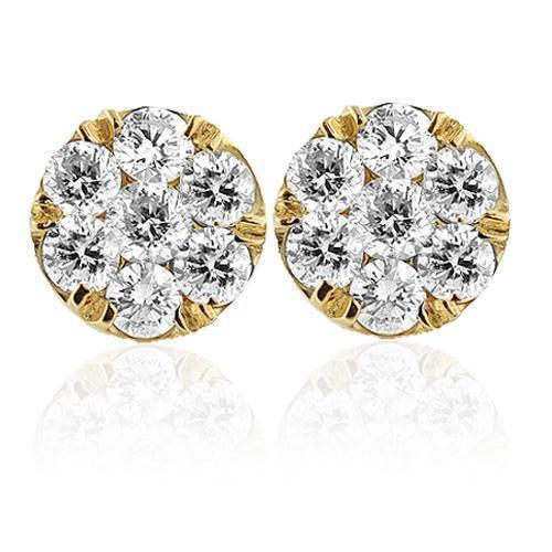 14K Yellow Solid Gold Unisex Diamond Cluster Stud Earrings 2.50 Ctw