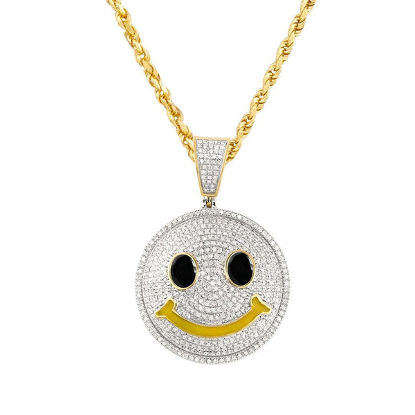 White, Yellow 10k Two Tone Gold Diamond Smile Face Emoji Pendant 0.75 Ctw