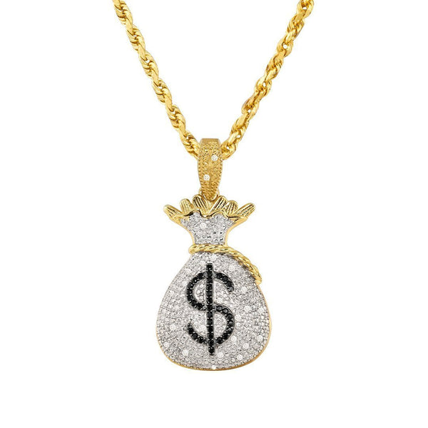 Yellow 10k Yellow Gold Diamond Money Bag Pendant 0.35 Ctw