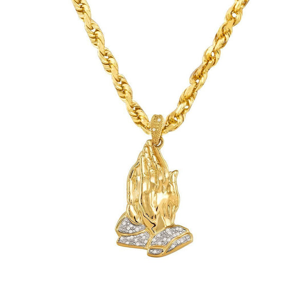 Yellow 10k Yellow Gold Diamond Praying Hands Pendant 0.12 Ctw