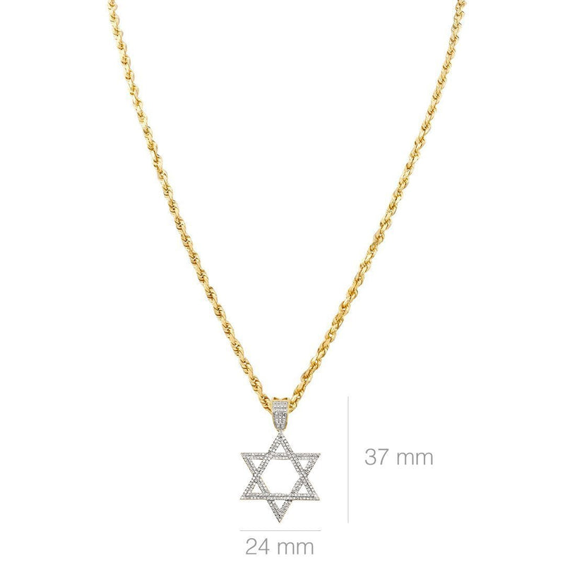 Yellow 10k Yellow Gold Diamond Star of David Pendant 0.48 Ctw