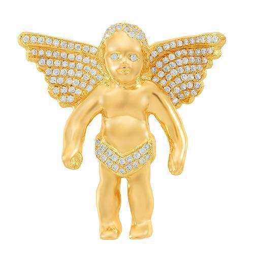 14K Solid Yellow Gold Custom Diamond Angel Pendant 1.50 Ctw