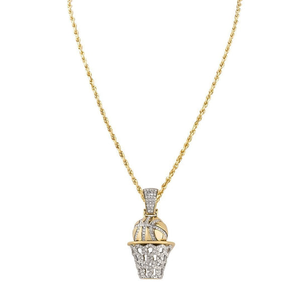 Yellow Diamond Basketball Hoop Pendant in 10k Two Tone Gold 0.60 Ctw