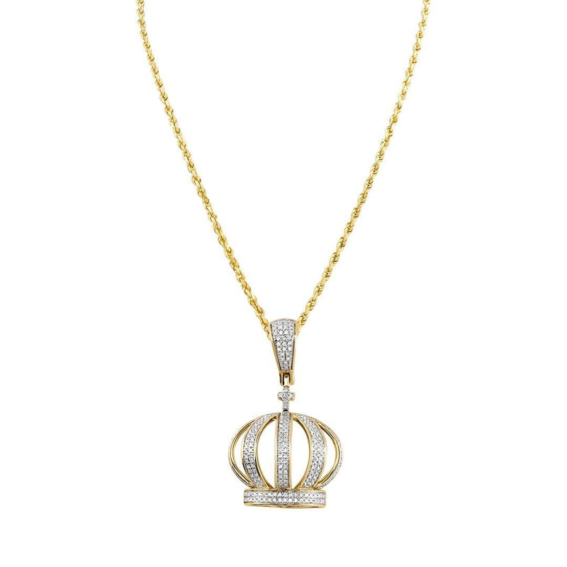 Yellow Diamond Crown Pendant in 10k Yellow Gold 0.50 Ctw