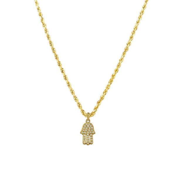 Yellow Diamond Hamsa Pendant 14k Yellow Gold 0.75 Ctw