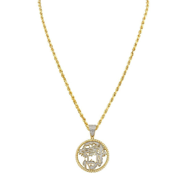 Yellow Diamond Jesus Head Pendant 10k Yellow Gold 0.42 Ctw