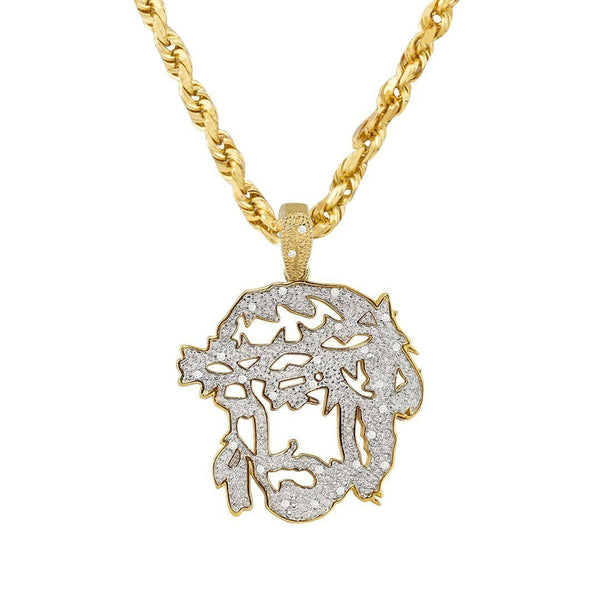 Yellow Diamond Jesus Head Pendant in 10k Yellow Gold 0.25 Ctw