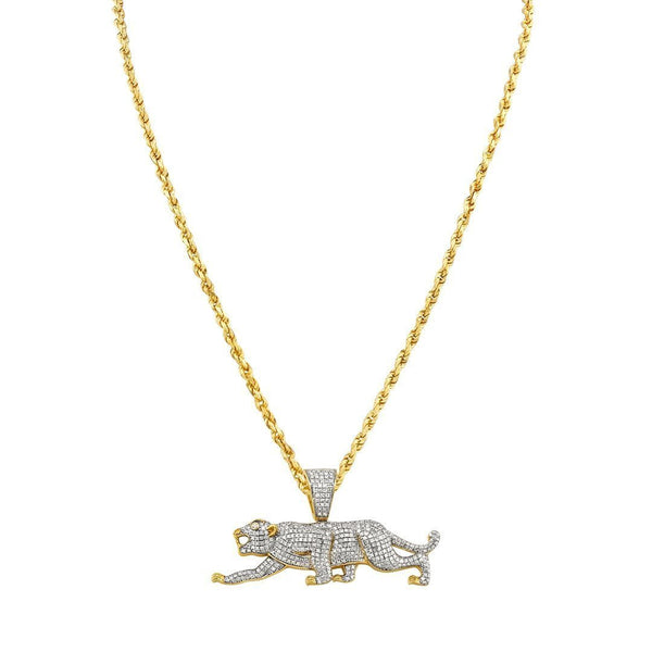 Yellow Diamond Panther Pendant 10k Yellow Gold 0.97 Ctw