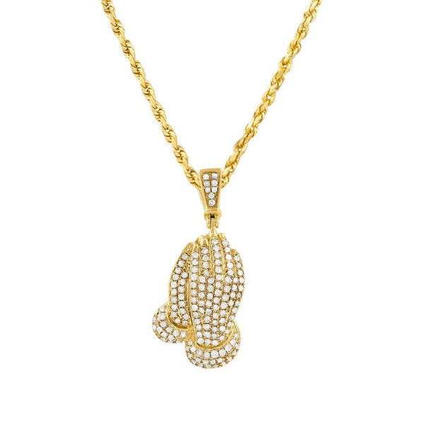 Yellow Diamond Praying Hands Pendant in 10k Yellow Gold 1.15 ctw