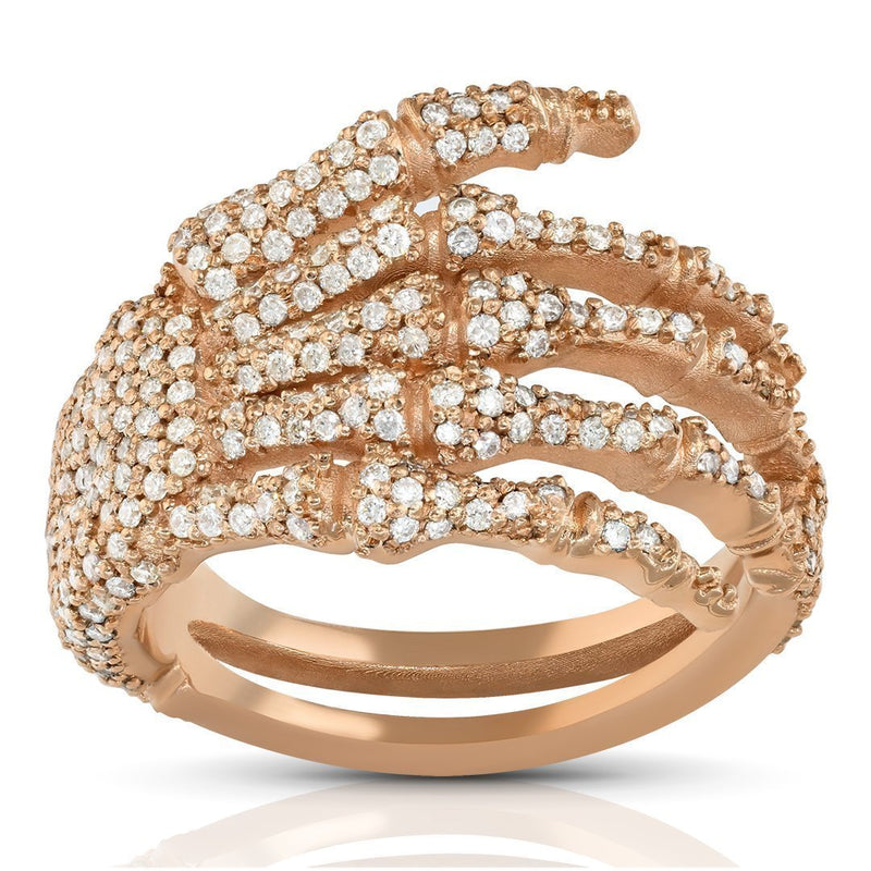 14k Rose Gold Diamond Skeleton Fingers Ring 1.38 Ctw