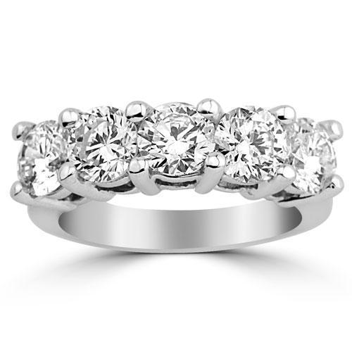 14K Solid White Gold Womens Diamond Wedding Ring Band 2.75 Ctw