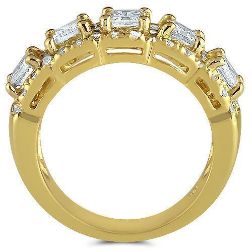 14K Yellow Solid Gold Womens Diamond Wedding Ring Band 2.70 Ctw