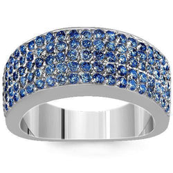 Sterling Silver Mens Blue Diamond Wedding Ring Band 2.68 Ctw