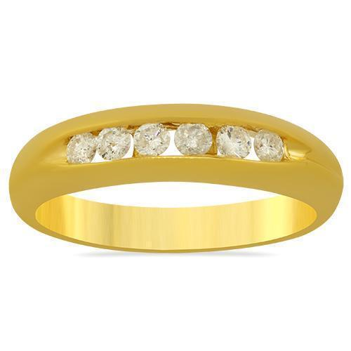 Six Stone Channel Set Round Diamond Ring in 14k Yellow Gold 0.57 Ctw