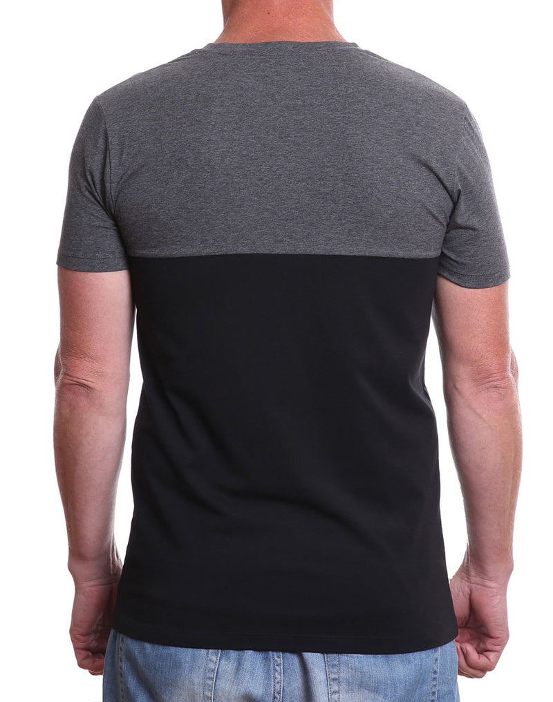 Back view of men's charcoal/black 7th Day Spinner crew neck cycling t-shirt