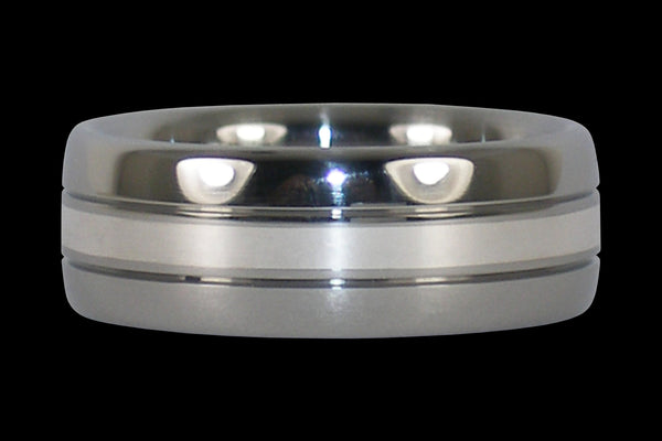 Silver Inlay Titanium Ring