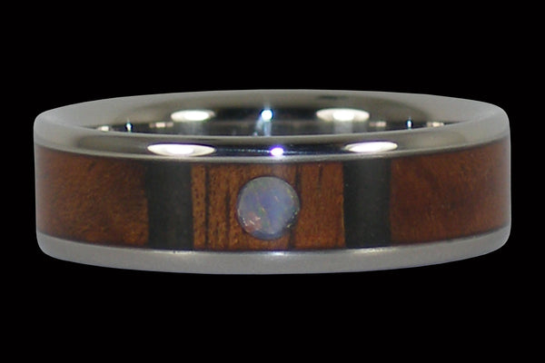 Hawaiian Koa Wood and Opal Titanium Ring