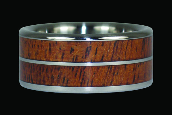 Mesquite Wood or Kiawe Wood Titanium Ring Band