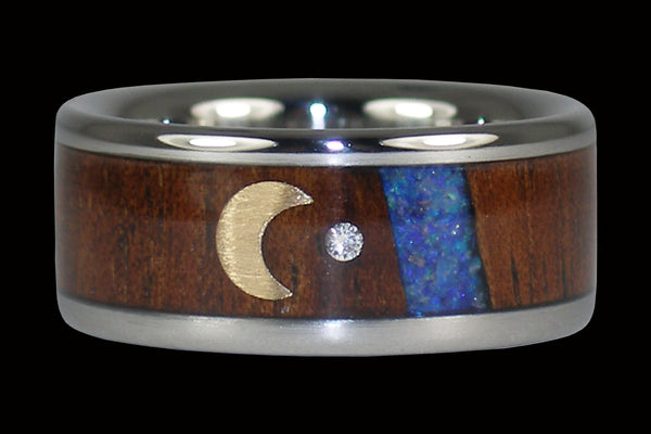Blue Opal Diamond Titanium Ring with Crescent Moon
