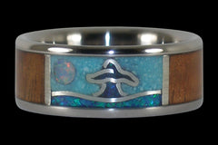Whales Tail Titanium Ring Band - Hawaii Titanium Rings
