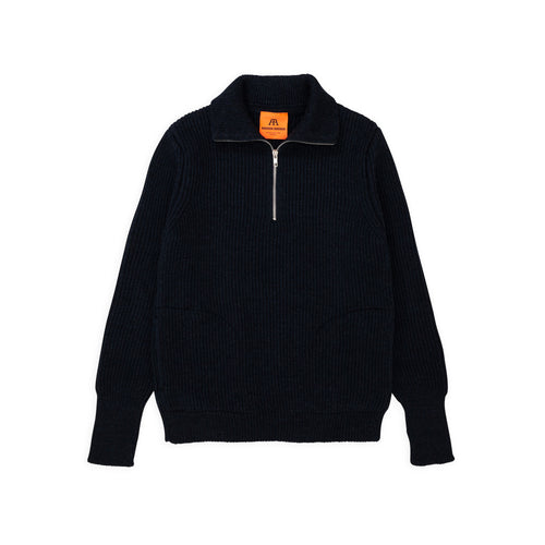 Navy Half-Zip Pockets - Dark Indigo