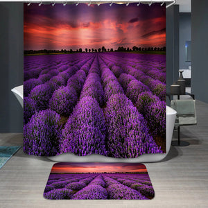 Lavender Field Sunset Shower Curtain