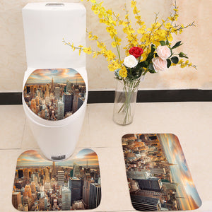 Sunset Aerial View Manhattan New York City 3 Piece Toilet Cover Set