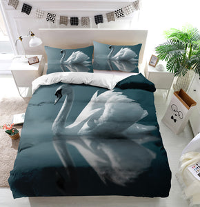 Swan Reflections Duvet Cover Bedding Set