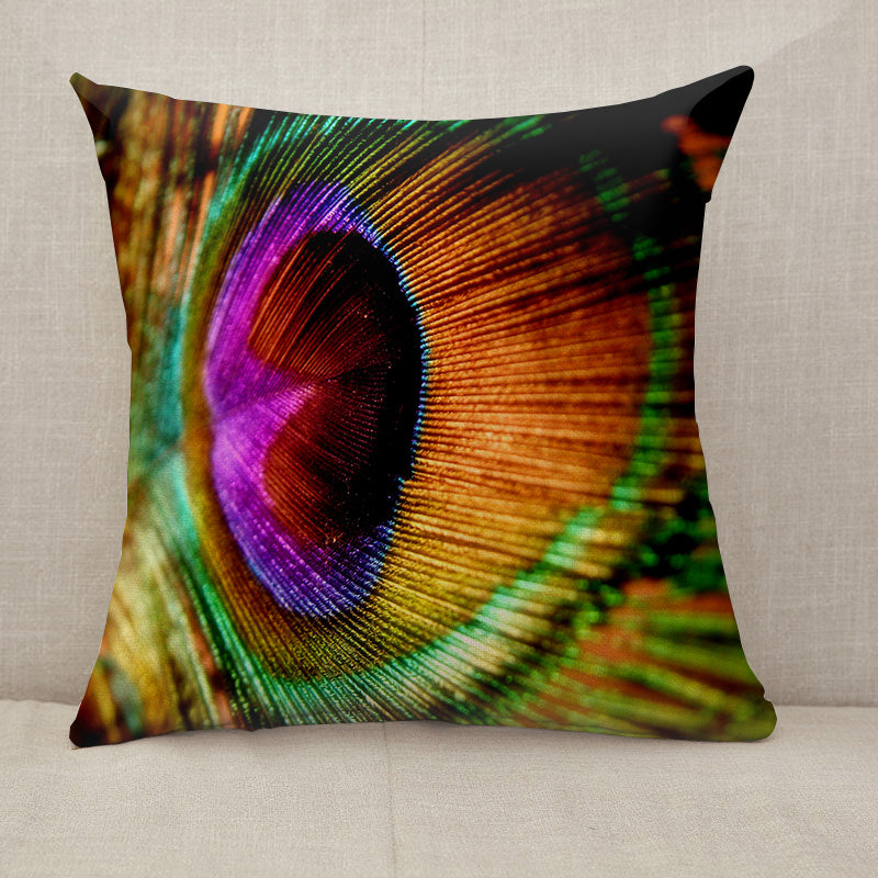 Peacock Feather Throw Pillow [With Inserts]