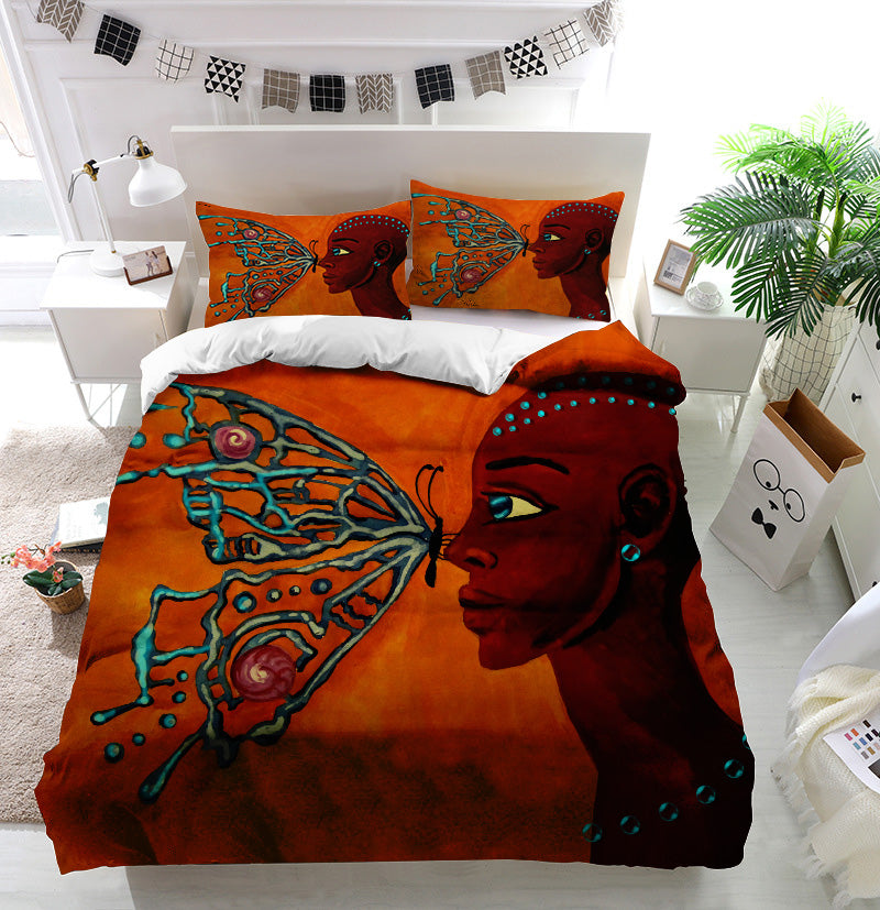 Butterfly and girl Duvet Cover Bedding Set