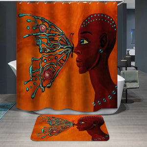 Butterfly and girl Shower Curtain