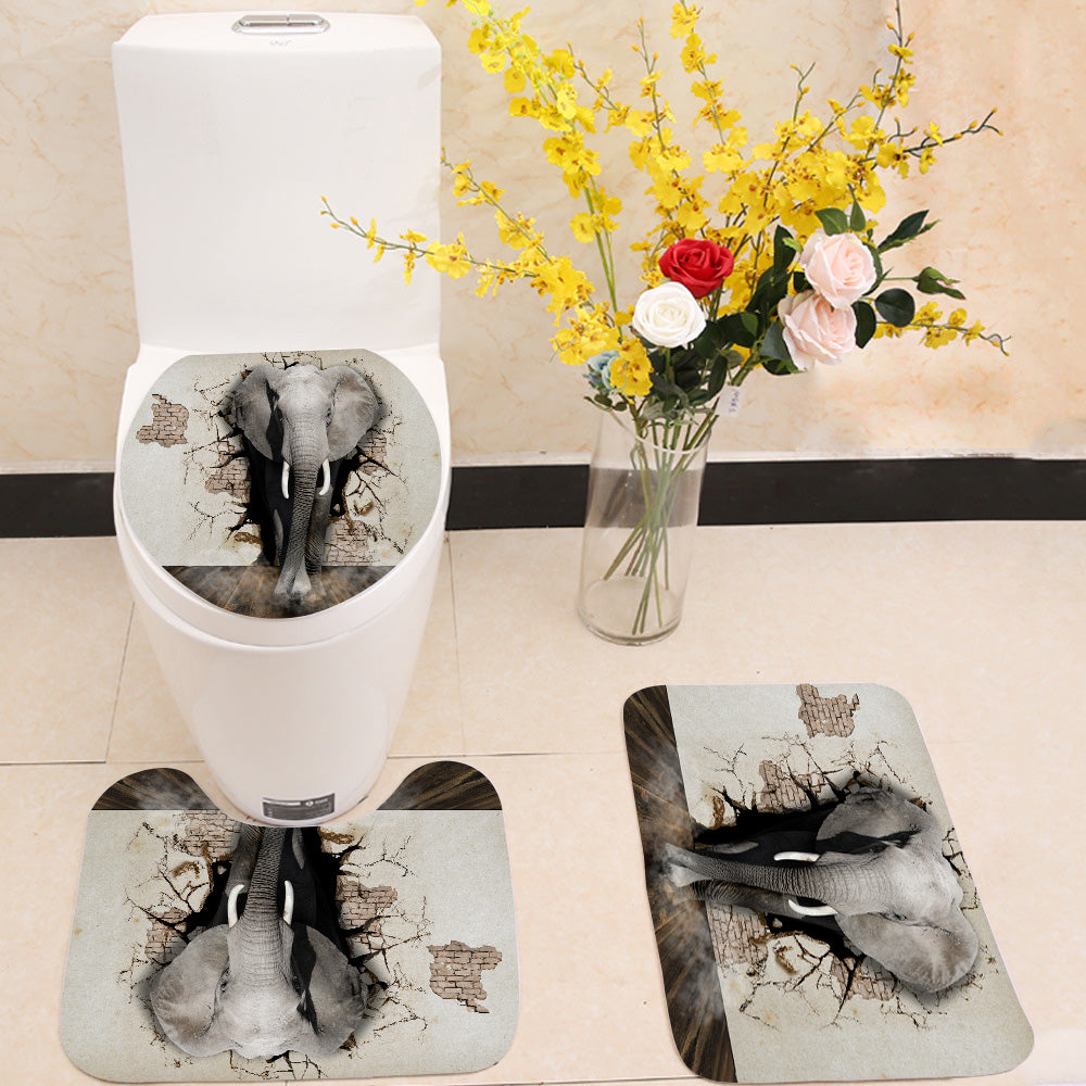 3D elephant wall 3 Piece Toilet Cover Set