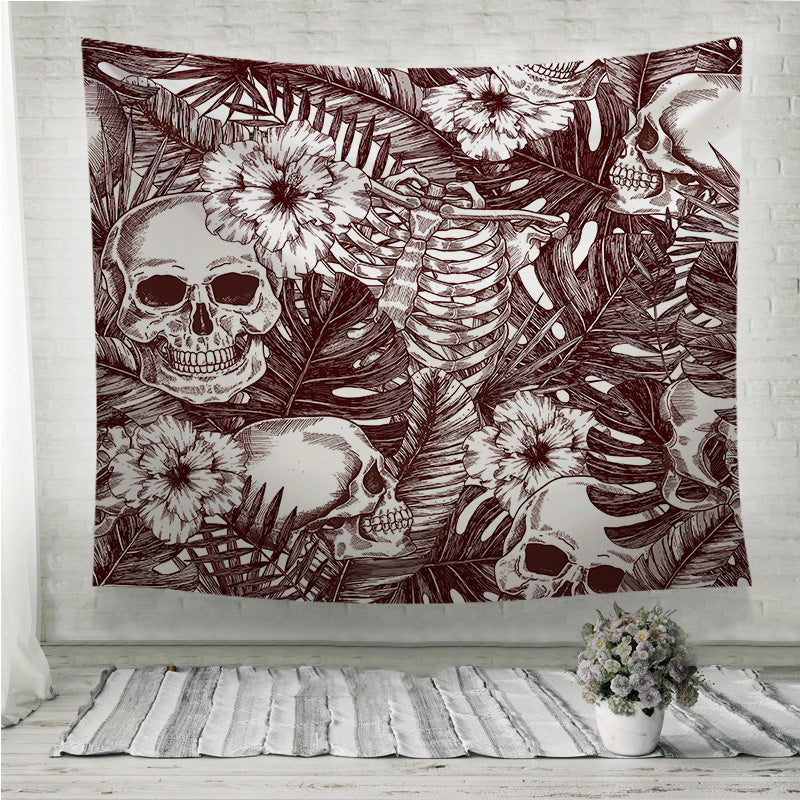 Creppy jungle skull Wall Tapestry