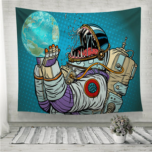 Astronaut monster eats earth Wall Tapestry