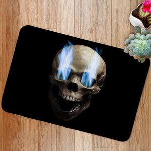 Skull with blue flaming eye Bath Mat