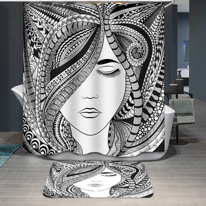Abstract hair girl Shower Curtain