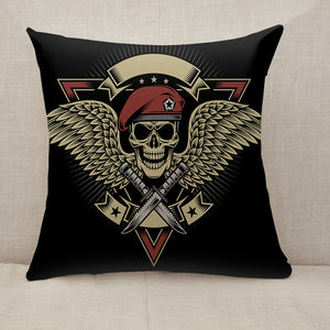 Military Skull with Wings and Daggers Throw Pillow [With Inserts]