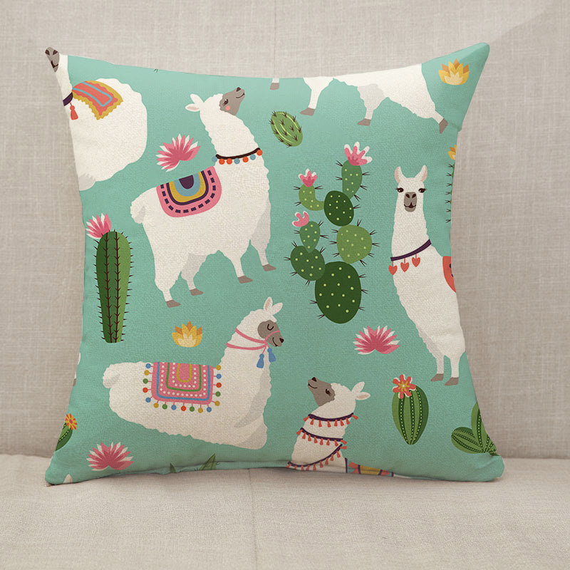 Alpaca llama and cactus Throw Pillow [With Inserts]