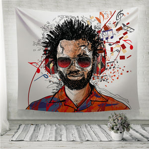 Man listening to music Wall Tapestry