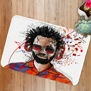 Man listening to music Bath Mat