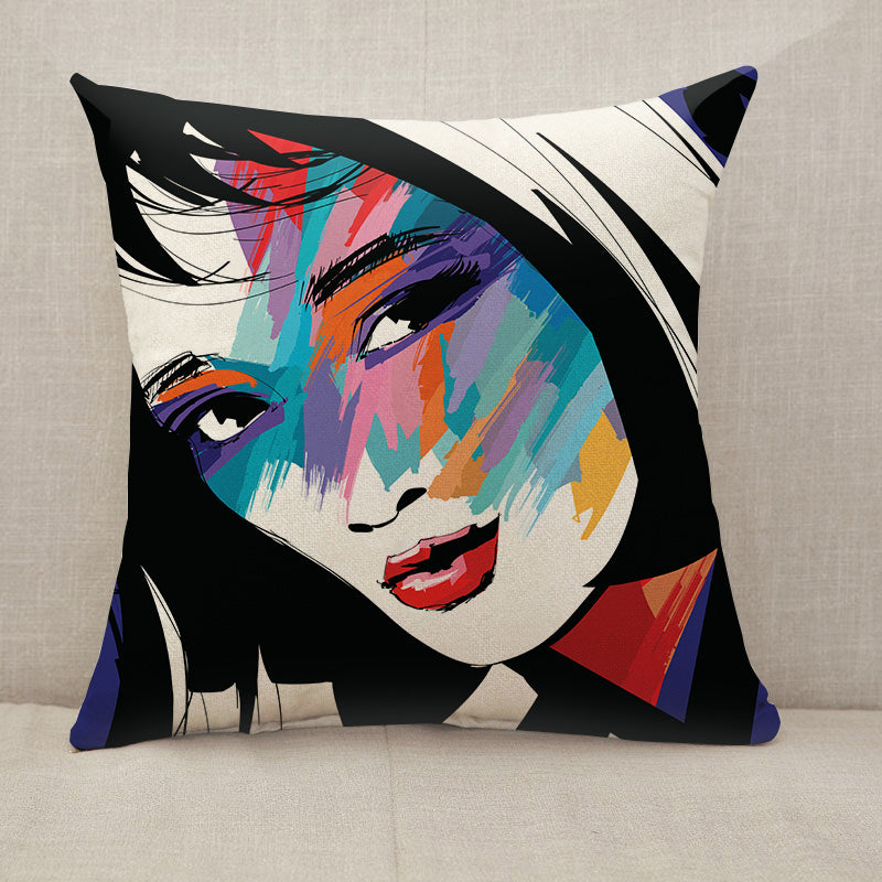 Woman face colorful Throw Pillow [With Inserts]